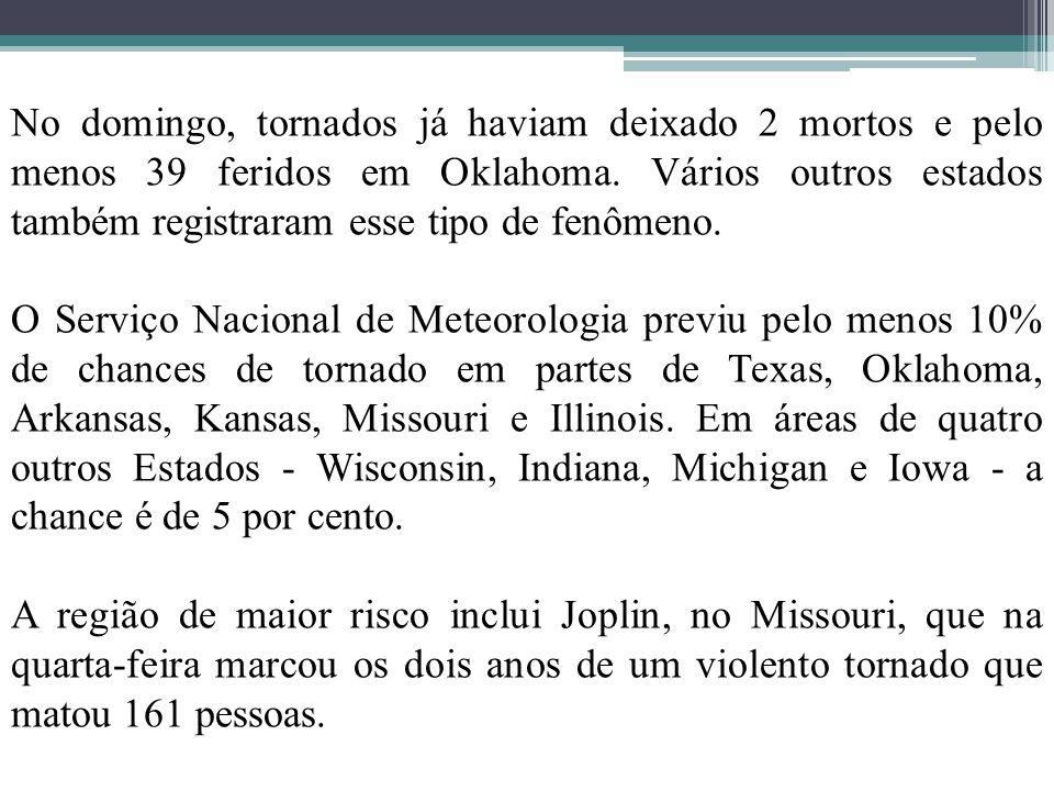 No domingo, tornados já haviam deixado 2 mortos e pelo menos 39 feridos em Oklahoma. Vários outros estados também registraram esse tipo de fenômeno.
