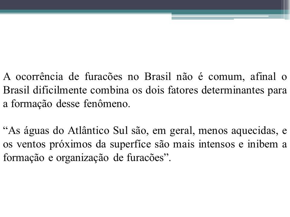 A ocorrência de furacões no Brasil não é comum, afinal o Brasil dificilmente combina os dois fatores determinantes para a formação desse fenômeno.