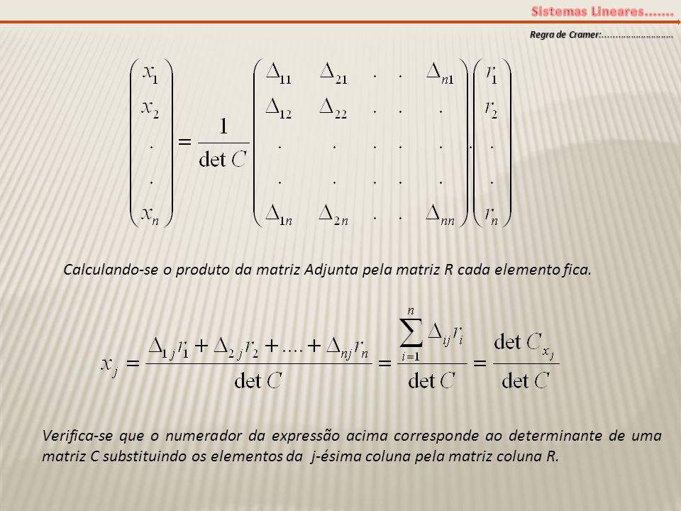 Regra de Cramer:............................ Calculando-se o produto da matriz Adjunta pela matriz R cada elemento fica.