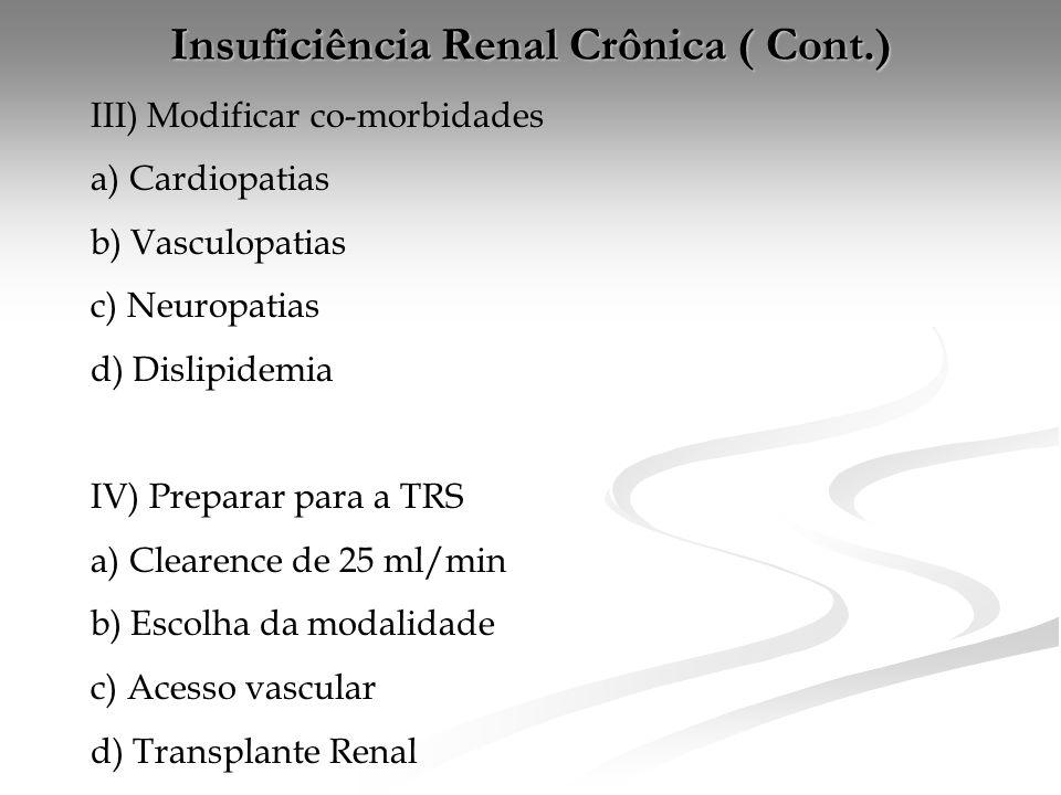 Insuficiência Renal Crônica ( Cont.)