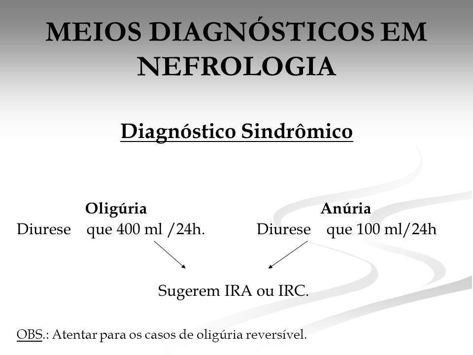 MEIOS DIAGNÓSTICOS EM NEFROLOGIA Diagnóstico Sindrômico