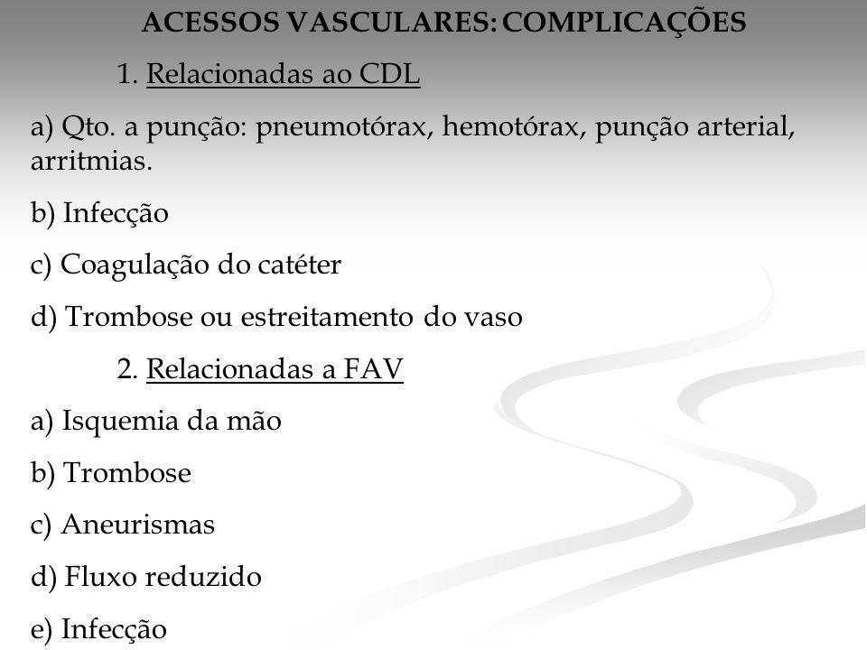 ACESSOS VASCULARES: COMPLICAÇÕES