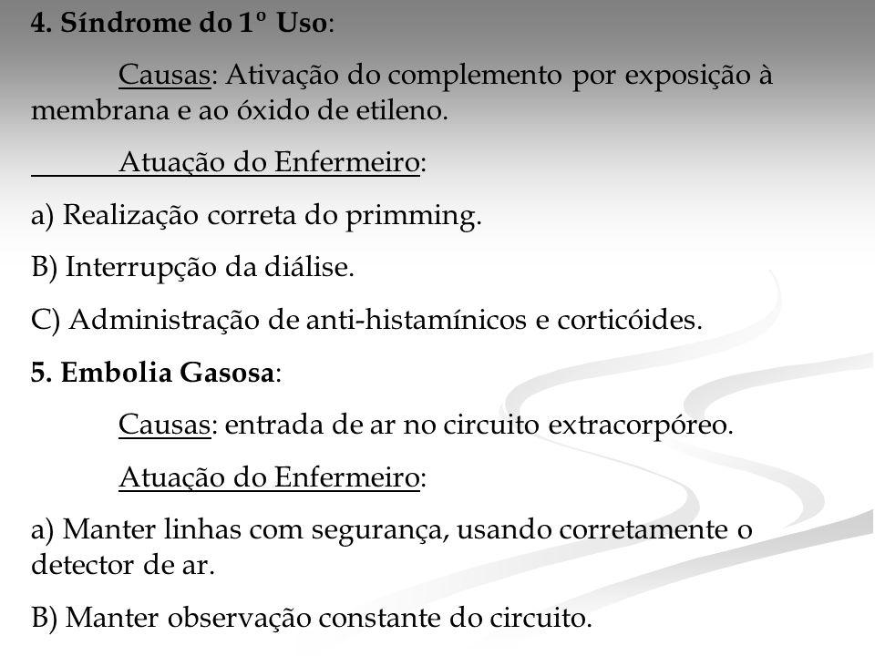 4. Síndrome do 1º Uso: Causas: Ativação do complemento por exposição à membrana e ao óxido de etileno.