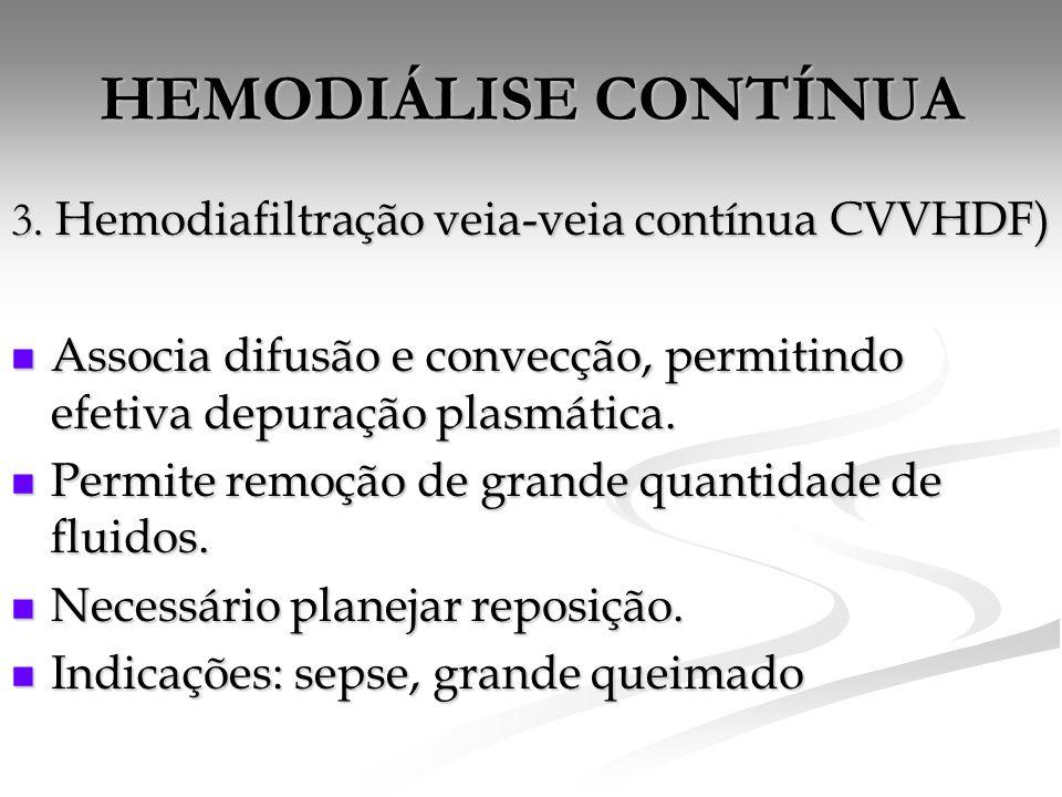 HEMODIÁLISE CONTÍNUA 3. Hemodiafiltração veia-veia contínua CVVHDF)