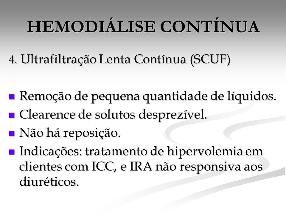 HEMODIÁLISE CONTÍNUA 4. Ultrafiltração Lenta Contínua (SCUF)