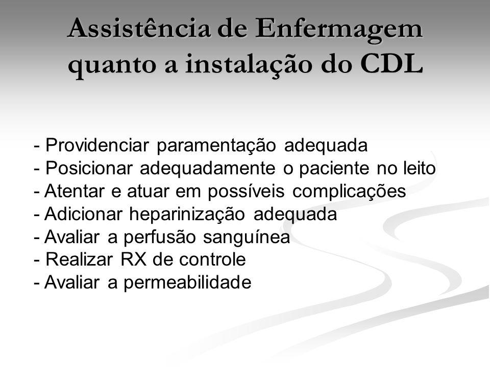 Assistência de Enfermagem quanto a instalação do CDL