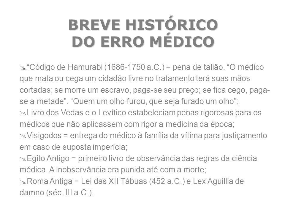 BREVE HISTÓRICO DO ERRO MÉDICO