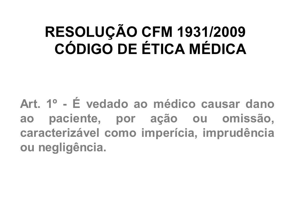 RESOLUÇÃO CFM 1931/2009 CÓDIGO DE ÉTICA MÉDICA