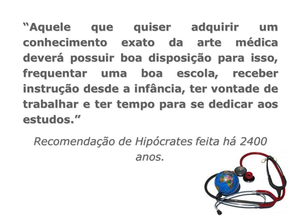 Recomendação de Hipócrates feita há 2400 anos.