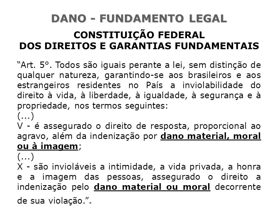 DANO - FUNDAMENTO LEGAL