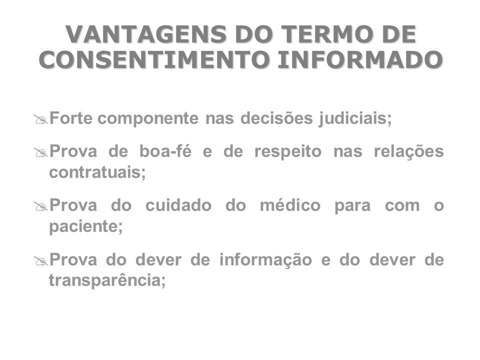 VANTAGENS DO TERMO DE CONSENTIMENTO INFORMADO