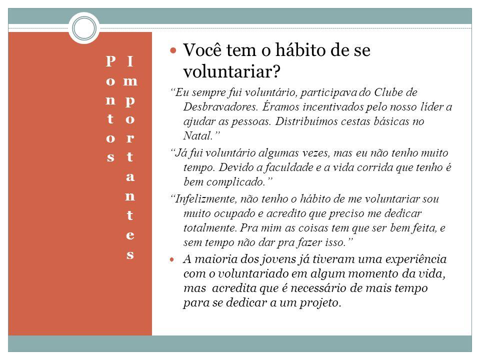 Você tem o hábito de se voluntariar