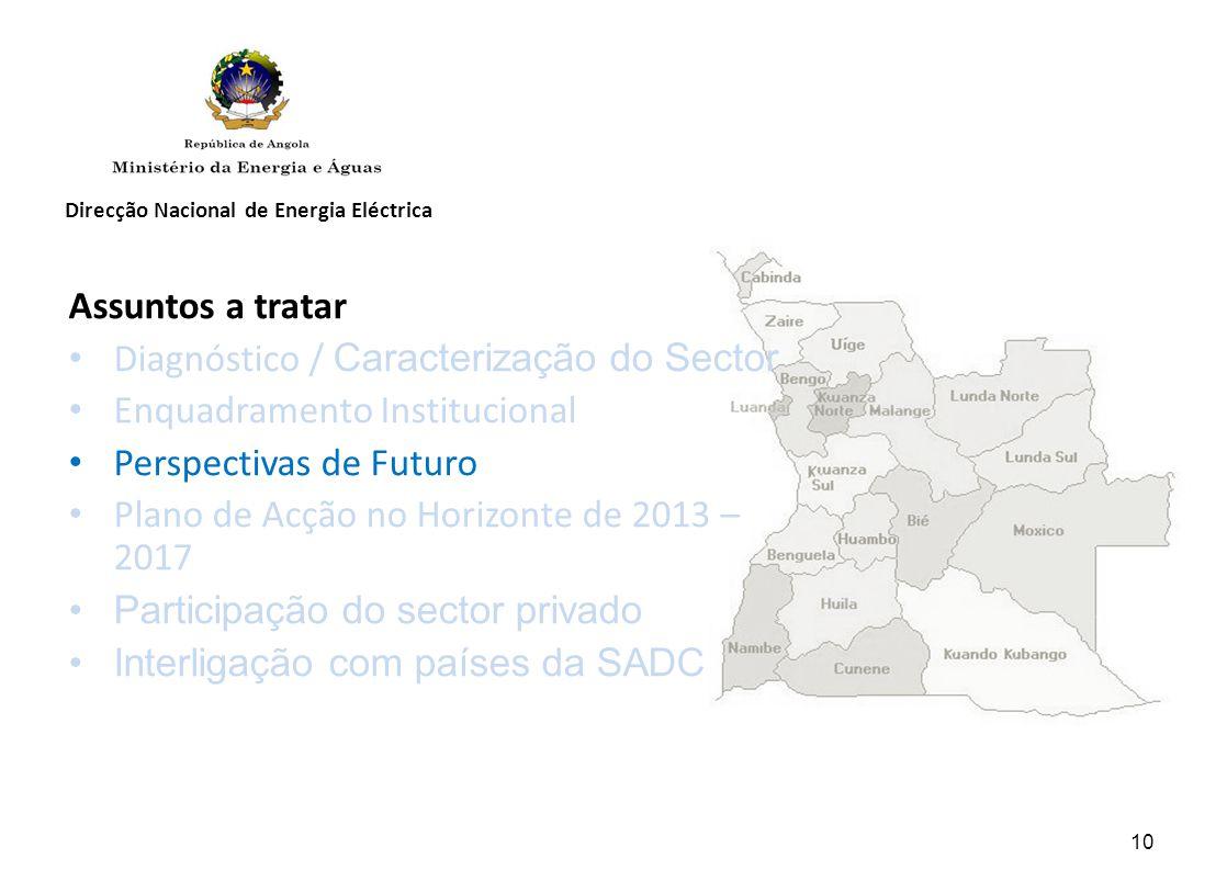 Diagnóstico / Caracterização do Sector Enquadramento Institucional