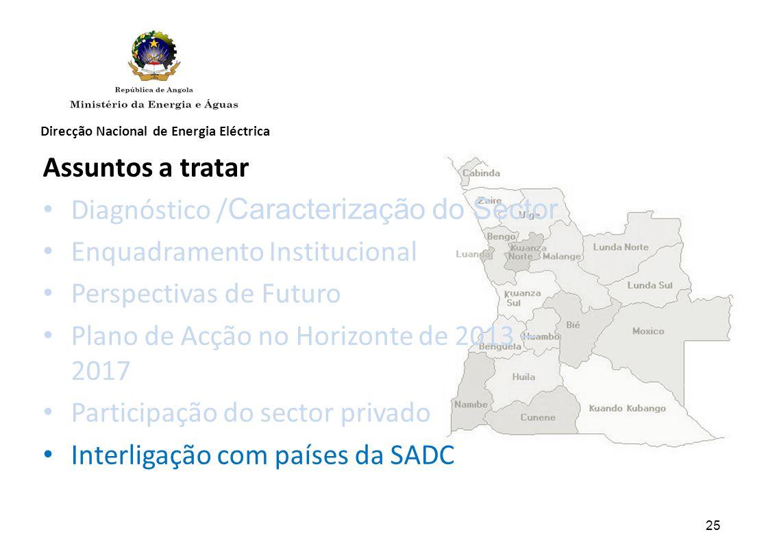 Diagnóstico /Caracterização do Sector Enquadramento Institucional