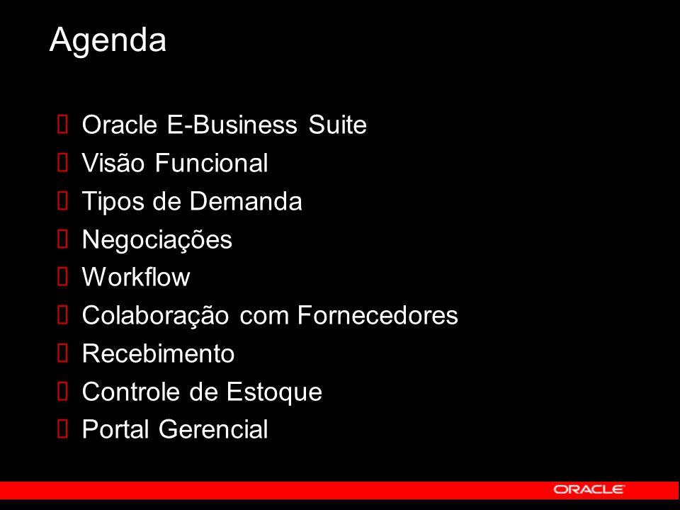 Agenda Oracle E-Business Suite Visão Funcional Tipos de Demanda