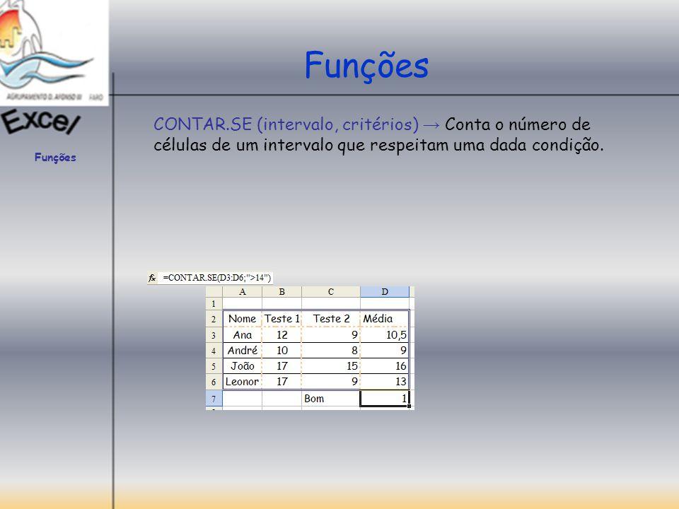 Funções CONTAR.SE (intervalo, critérios) → Conta o número de células de um intervalo que respeitam uma dada condição.