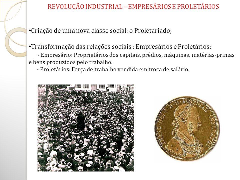 REVOLUÇÃO INDUSTRIAL – EMPRESÁRIOS E PROLETÁRIOS