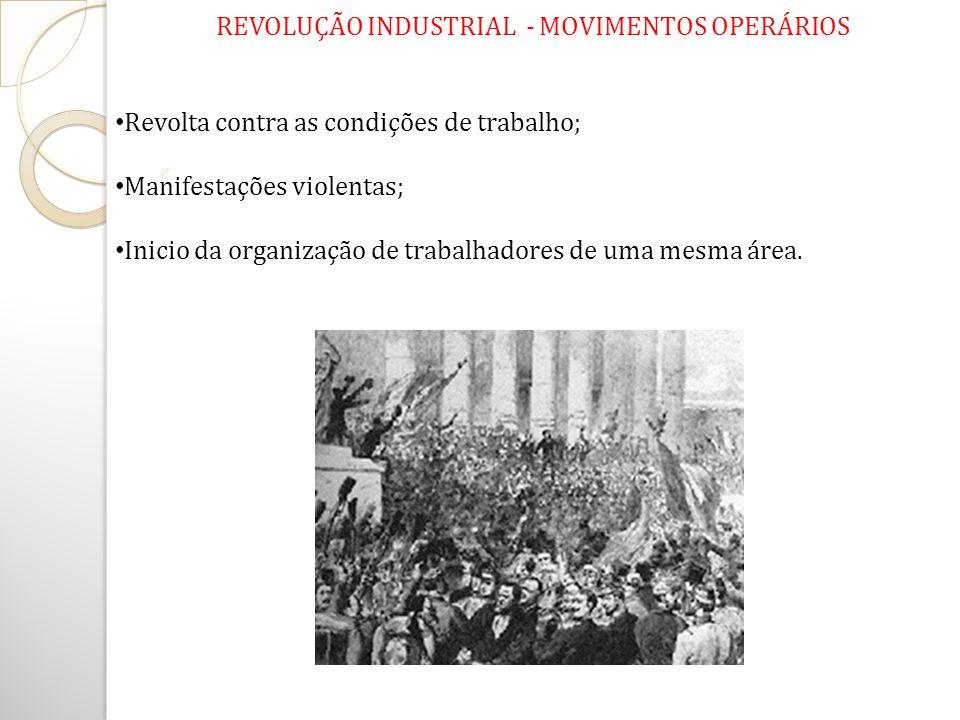 REVOLUÇÃO INDUSTRIAL - MOVIMENTOS OPERÁRIOS