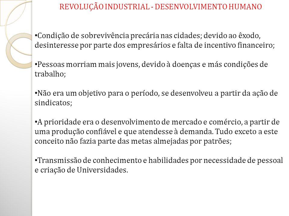 REVOLUÇÃO INDUSTRIAL - DESENVOLVIMENTO HUMANO