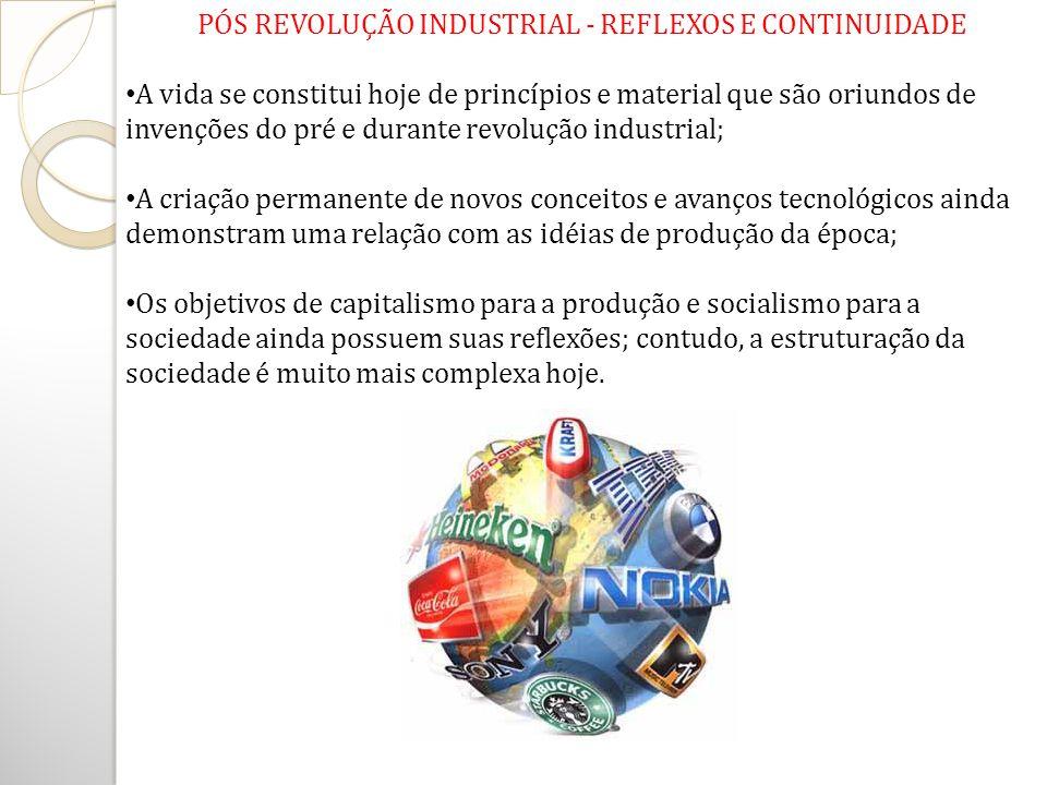 PÓS REVOLUÇÃO INDUSTRIAL - REFLEXOS E CONTINUIDADE