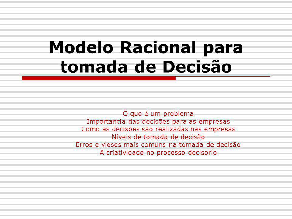 Modelo Racional para tomada de Decisão