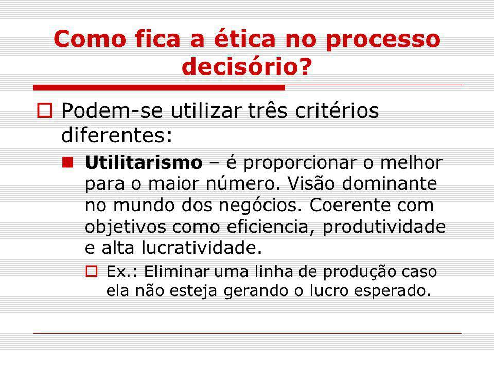 Como fica a ética no processo decisório