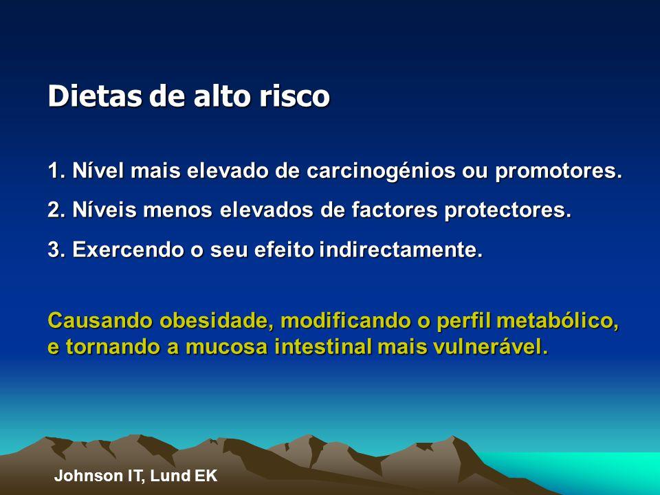 Dietas de alto risco Nível mais elevado de carcinogénios ou promotores. Níveis menos elevados de factores protectores.