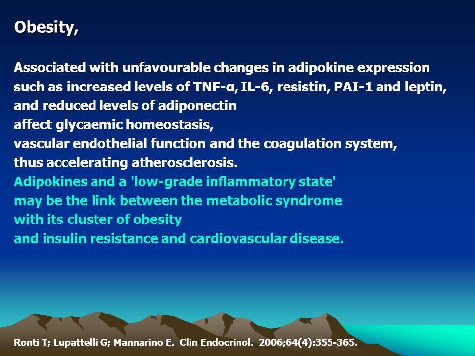 Obesity, Associated with unfavourable changes in adipokine expression