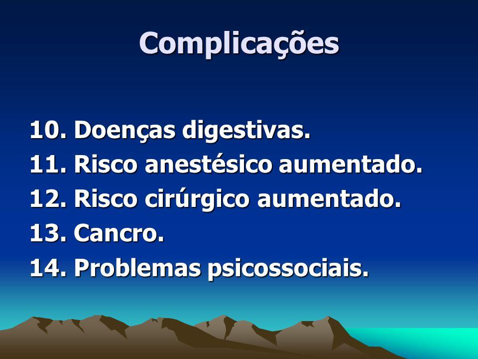 Complicações 10. Doenças digestivas. 11. Risco anestésico aumentado.