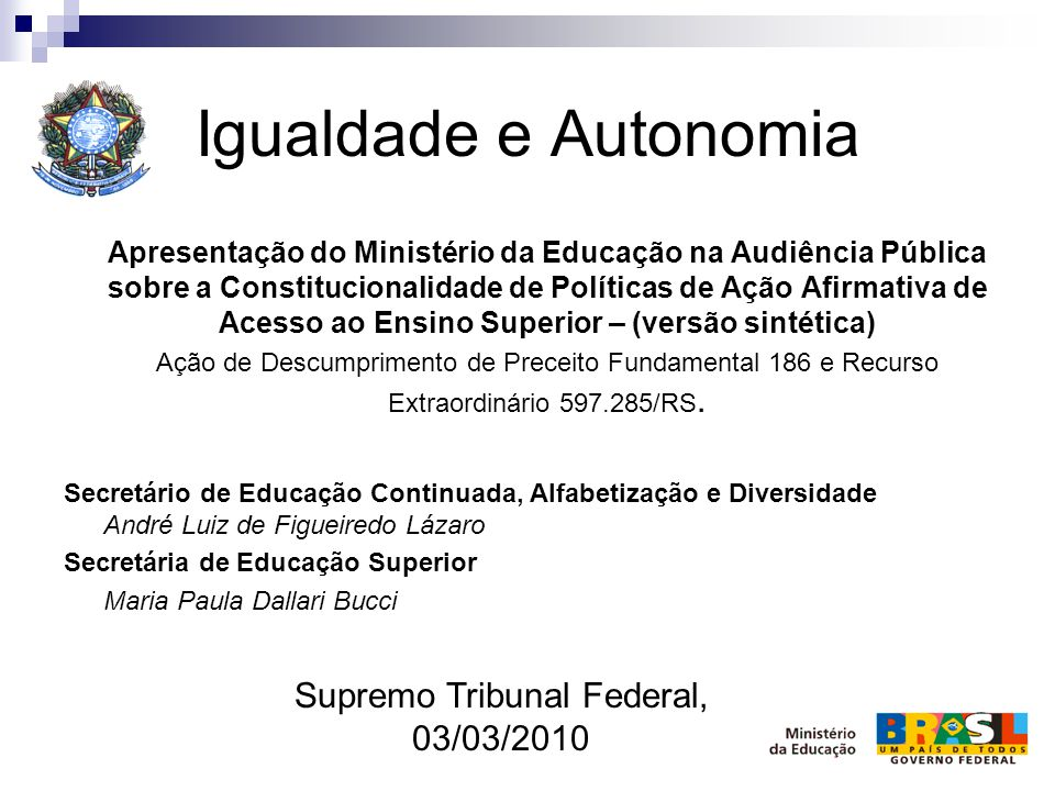 Supremo Tribunal Federal, 03/03/2010