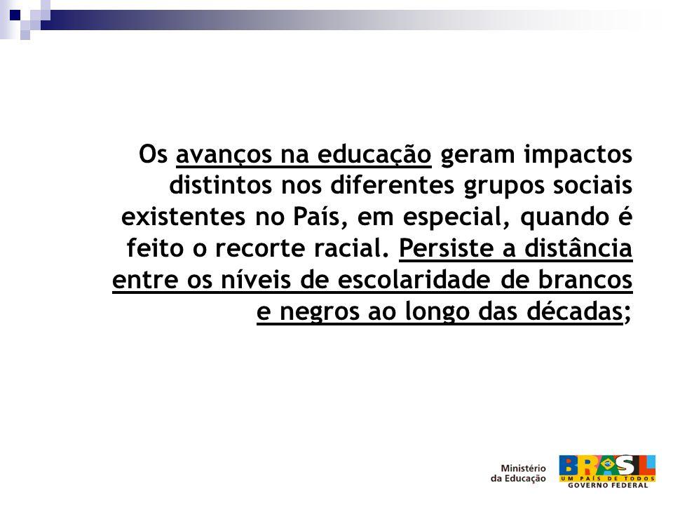 Os avanços na educação geram impactos distintos nos diferentes grupos sociais existentes no País, em especial, quando é feito o recorte racial.