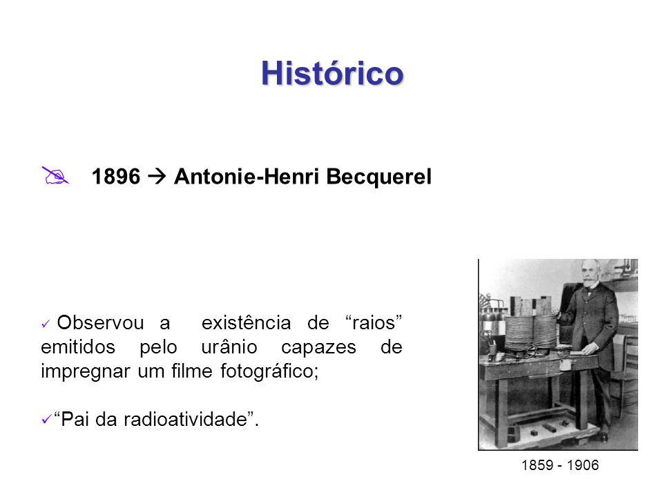 Histórico 1896  Antonie-Henri Becquerel Pai da radioatividade .