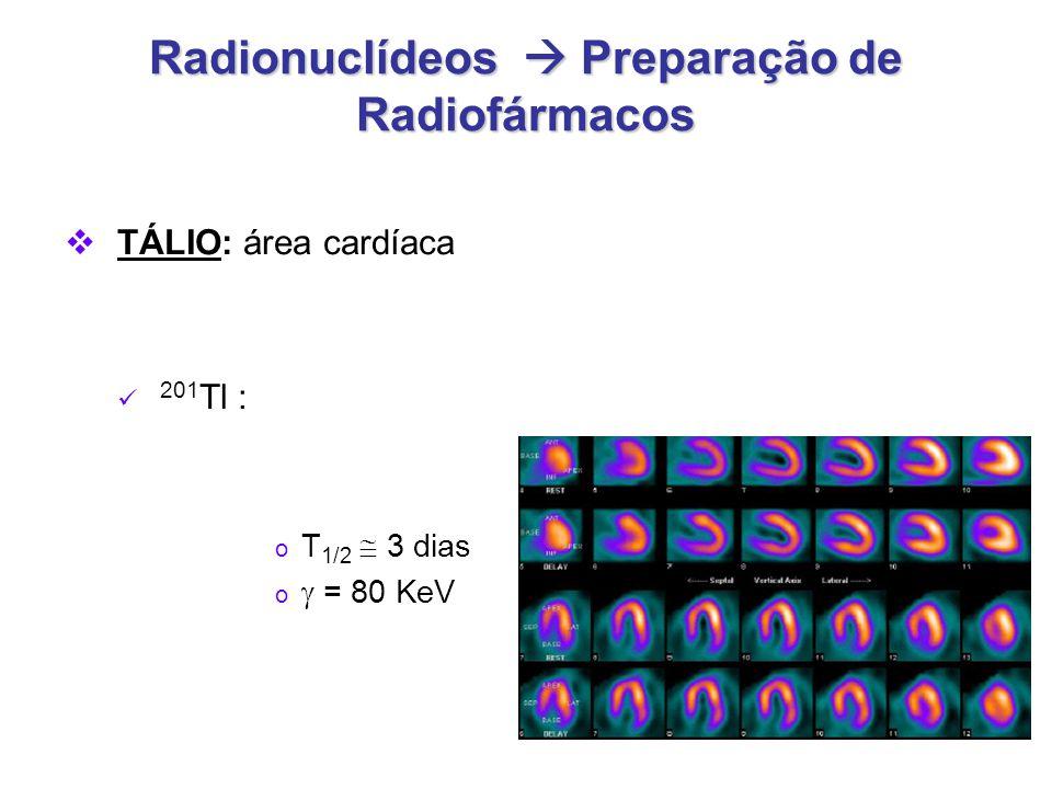 Radionuclídeos  Preparação de Radiofármacos