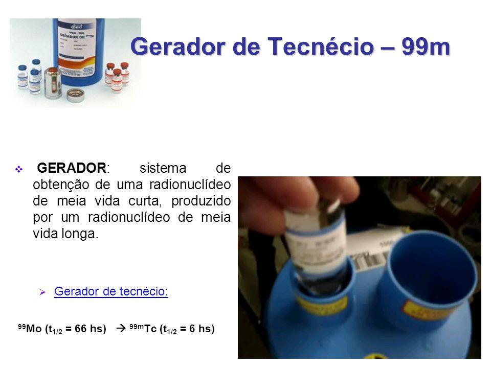 Gerador de Tecnécio – 99m GERADOR: sistema de obtenção de uma radionuclídeo de meia vida curta, produzido por um radionuclídeo de meia vida longa.