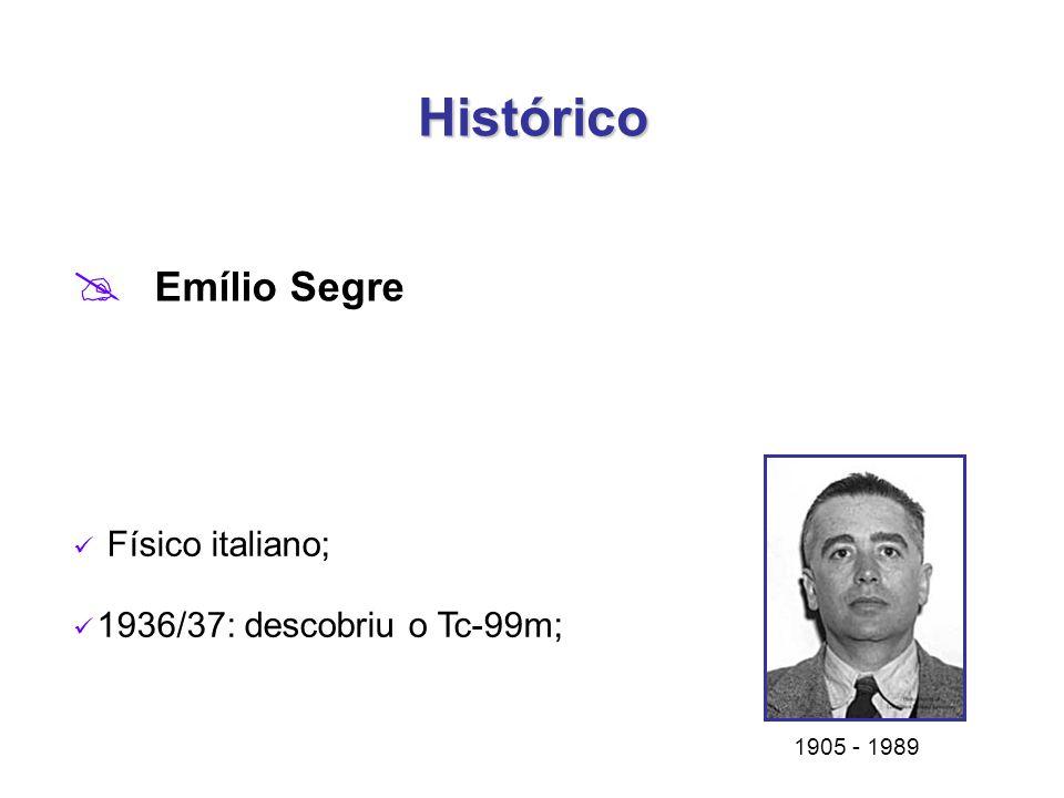 Histórico Emílio Segre Físico italiano; 1936/37: descobriu o Tc-99m;