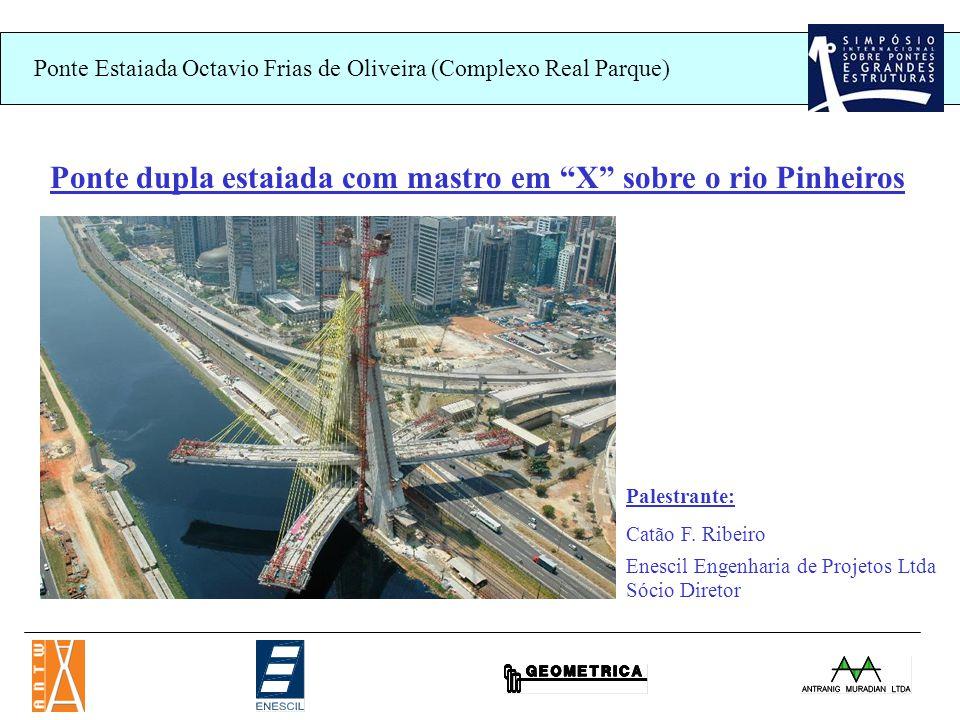 Ponte dupla estaiada com mastro em X sobre o rio Pinheiros