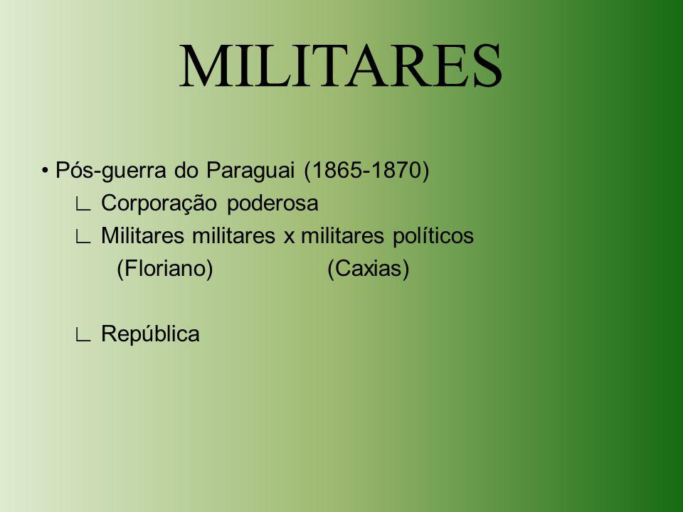 MILITARES • Pós-guerra do Paraguai (1865-1870) ∟ Corporação poderosa ∟ Militares militares x militares políticos (Floriano) (Caxias) ∟ República