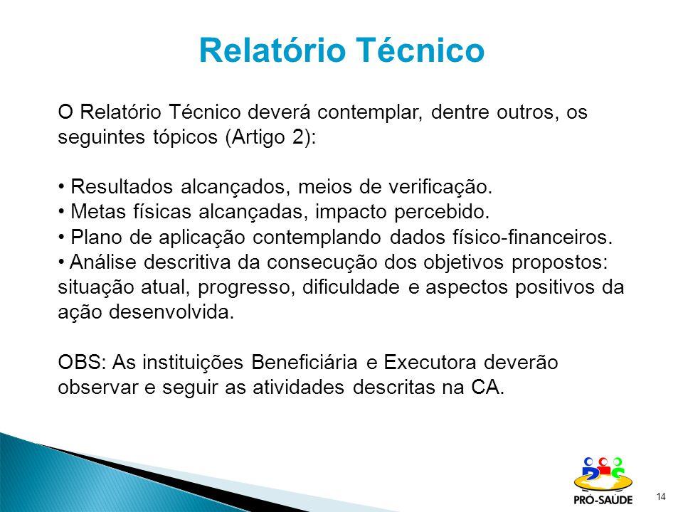 Relatório Técnico O Relatório Técnico deverá contemplar, dentre outros, os seguintes tópicos (Artigo 2):