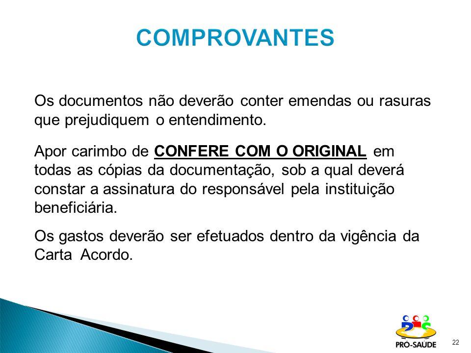 Os documentos não deverão conter emendas ou rasuras que prejudiquem o entendimento.