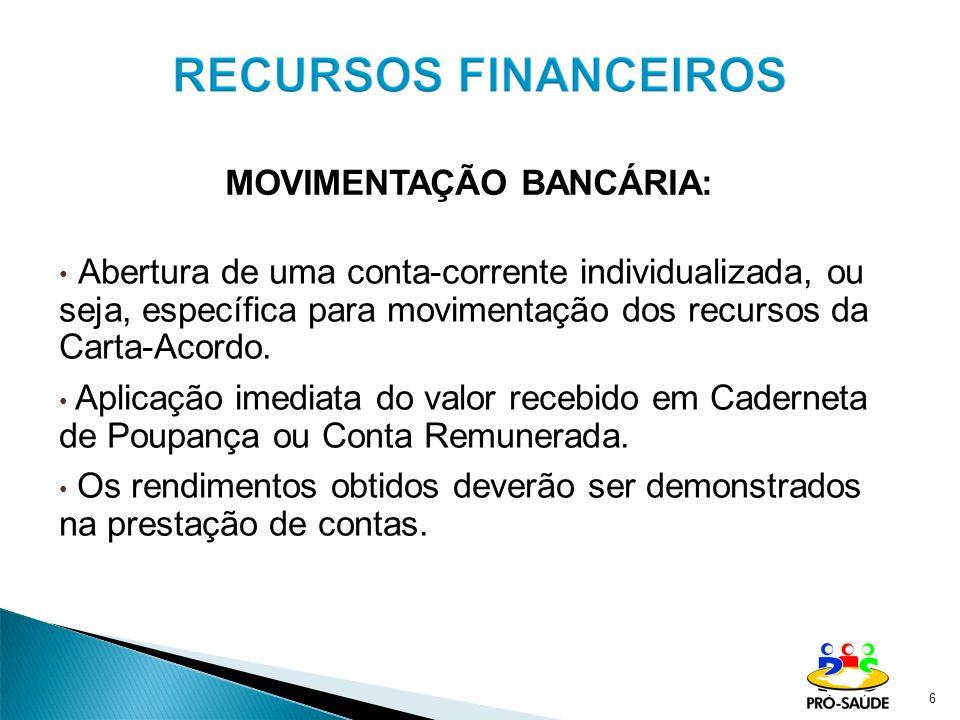 MOVIMENTAÇÃO BANCÁRIA: