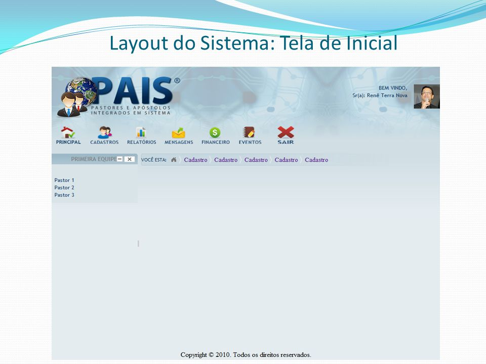 Layout do Sistema: Tela de Inicial