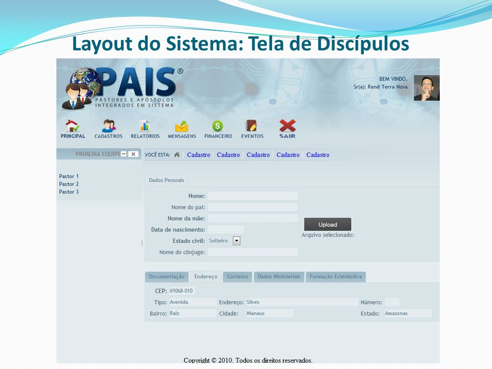 Layout do Sistema: Tela de Discípulos