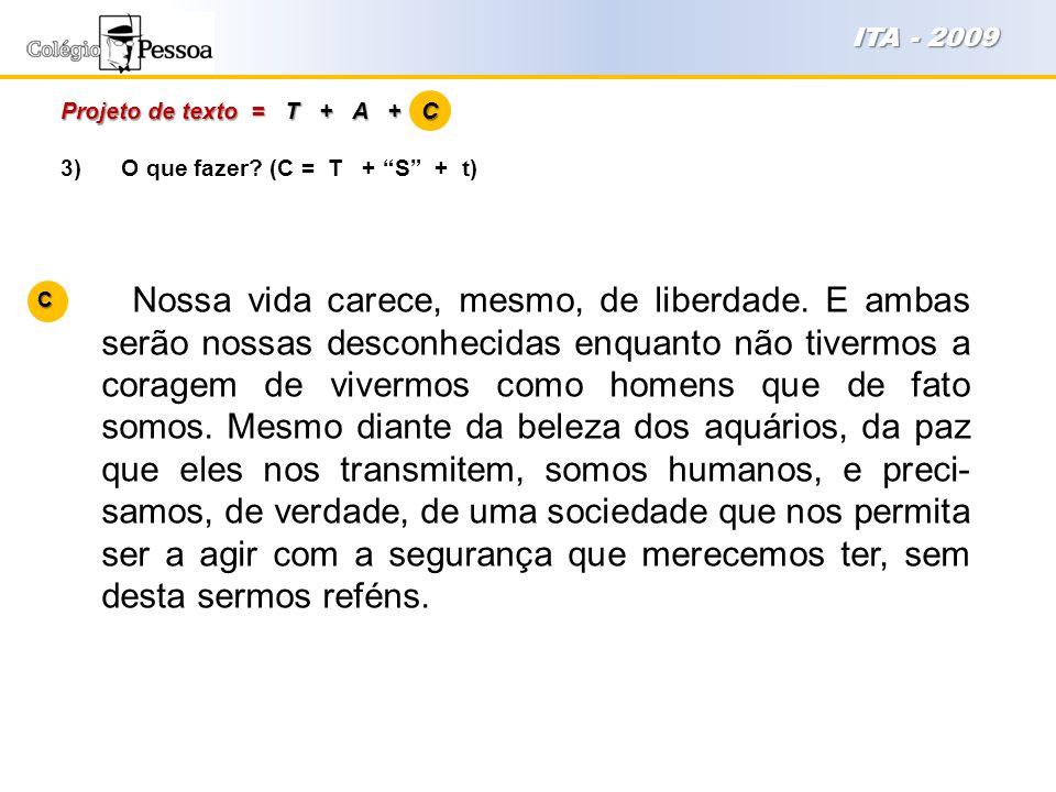 ITA - 2009 Projeto de texto = T + A + C. 3) O que fazer (C = T + S + t)