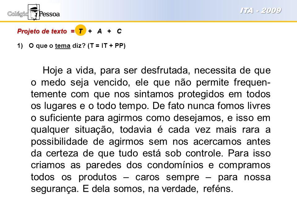 ITA - 2009 Projeto de texto = T + A + C. O que o tema diz (T = IT + PP)