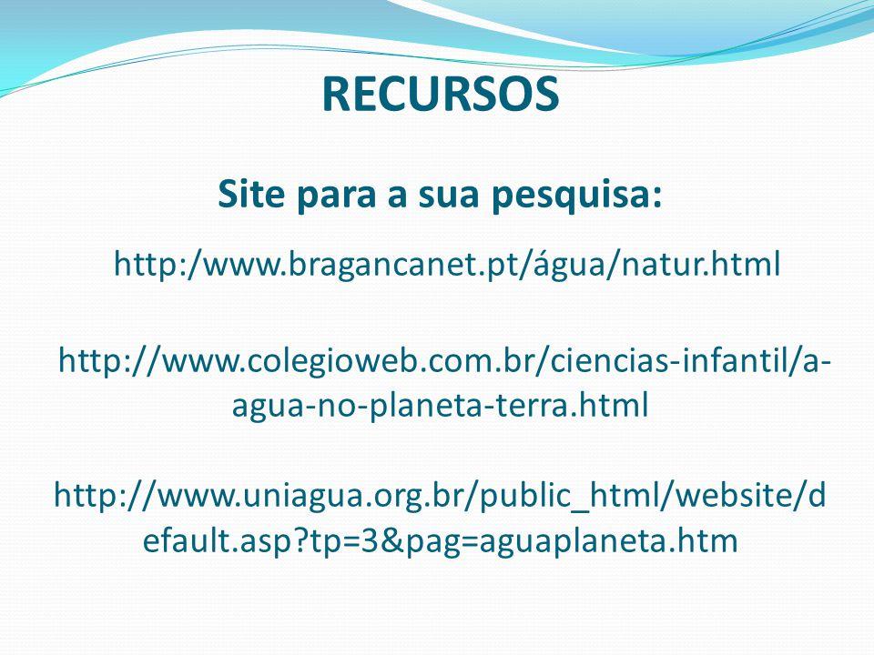 RECURSOS Site para a sua pesquisa: http:/www. bragancanet