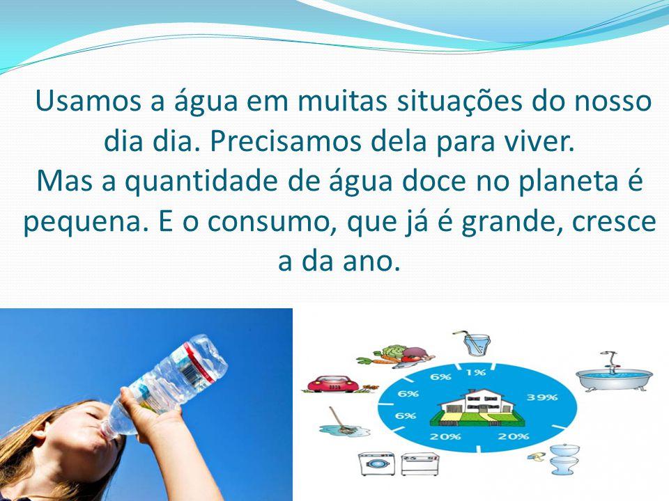Usamos a água em muitas situações do nosso dia dia