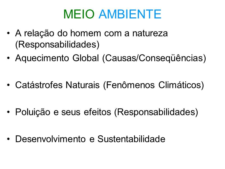 MEIO AMBIENTE A relação do homem com a natureza (Responsabilidades)