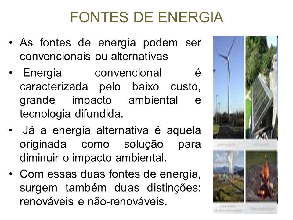 FONTES DE ENERGIA As fontes de energia podem ser convencionais ou alternativas.