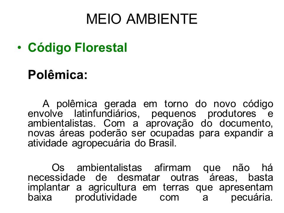 MEIO AMBIENTE Código Florestal Polêmica: