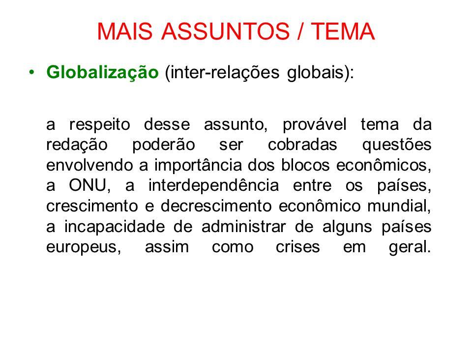 MAIS ASSUNTOS / TEMA Globalização (inter-relações globais):